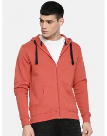 Rust Solid Hooded Sweatshirt-AS(Similar Style)