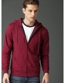 Maroon Solid Hooded Sweatshirt-AS(Similar Style)