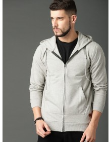 Grey Solid Hooded Sweatshirt-AS(Similar Style)