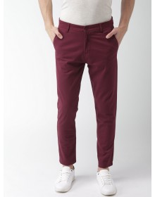 Maroon Tapered Fit Solid Chinos-AS(Similar Style)