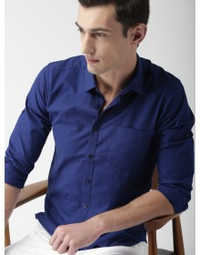 Blue Slim Fit Casual Shirt-AS(Similar Style)