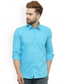 Turquoise Blue Classic Slim Fit Solid Casual Shirt-AS