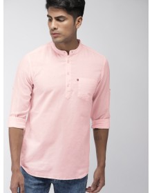 Pink Slim Fit Solid Casual Shirt-AS(Similar Style)