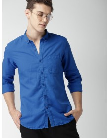 Blue Slim Fit Solid Casual Shirt-AS(Similar Style)