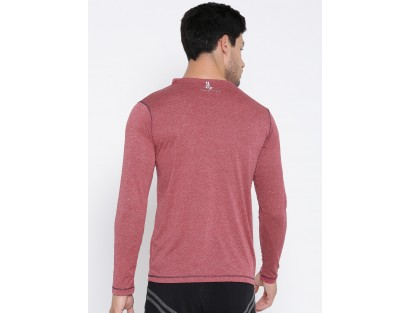 Red Melange Casual T-Shirt-AS