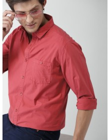 Coral Red Slim Fit Solid Casual Shirt-AS(Similar Style)