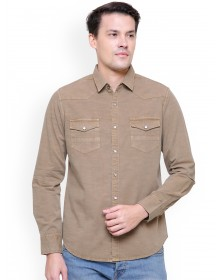 Khaki Chiseled Slim Fit Solid Casual Shirt(Similar Style)-AS