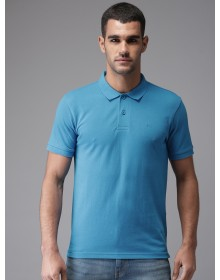 Blue Solid Polo Collar T-shirt-AS(Similar Style)