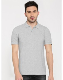 Grey Melange Solid Polo Collar T-shirt-AS(Similar Style)