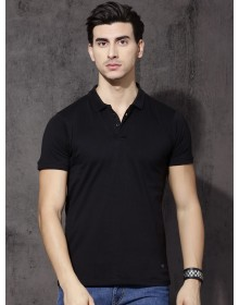 Black Solid Polo Collar T-shirt-AS(Similar Style)