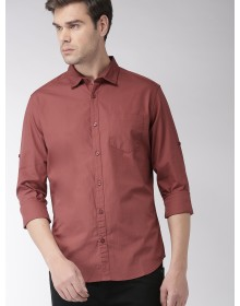 Rust Slim Fit Solid Casual Shirt-AS(Similar Style)