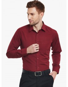 Maroon Slim Fit Solid Formal Shirt-AS(Similar Style)
