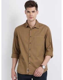 Brown Regular Fit Casual Shirt-AS(Similar Style)