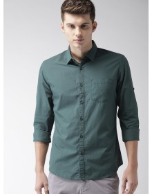 Teal Slim Fit Solid Casual Shirt-AS(Similar Style)