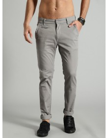 Light Grey Slim Fit Solid Chinos-AS(Similar Style)