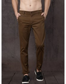 Brown Slim Fit Solid Chinos-AS(Similar Style)