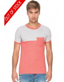 Campus Sutra Gray Melange Round Neck T Shirt