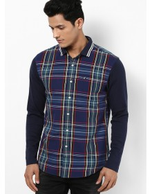 Giordano Checkered Purple Casual Shirt