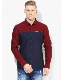 Being Human Clothing Red Solid Slim Fit Casual Shirt
