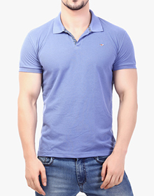 Blue Solid T Shirt