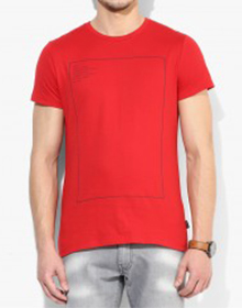 Red Solid Round Neck T-Shirt