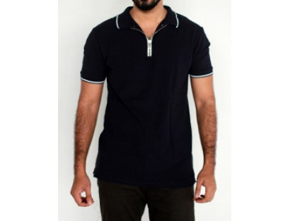 Zara Black Zipped Polo T Shirt