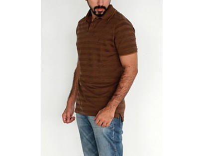 Indian Terrain Brown Polo Neck T Shirt
