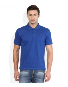 Blue Solid Regular Fit Polo T-Shirt By American Swan