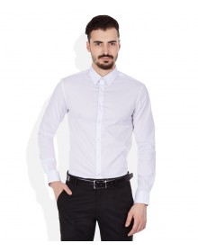 White Solid Shirt By Celio