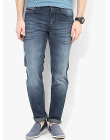Blue Washed Regular Fit Jeans By Route