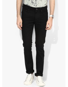 Black Solid Skinny Fit Jeans By Flying Machine