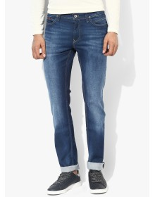 Blue Washed Mid Rise Slim Fit Jeans