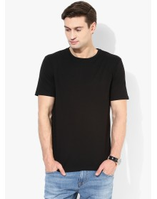 Black Solid Regular Fit Round Neck T-Shirt By Mexx