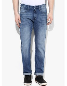 Blue Mid Rise Regular Fit Jeans