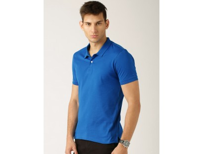 Blue Solid Regular Fit Polo T-Shirt-BM
