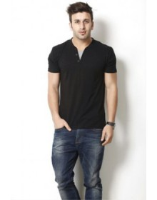 Gritstones Men's Henley T Shirt Black