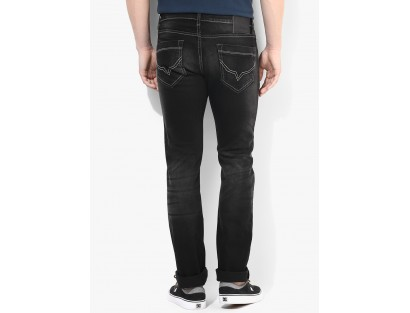 Black Low Rise Slim Fit Jeans Pepe Jeans