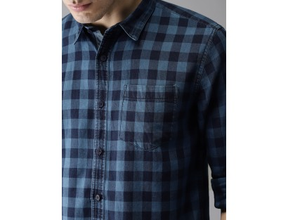 Gingham Checked Blue Shirt-CHLR