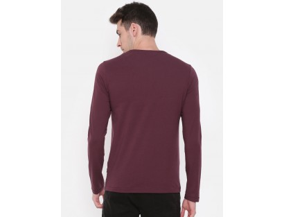 Sangria Maroon Solid Henley Neck T-Shirt-CHLR