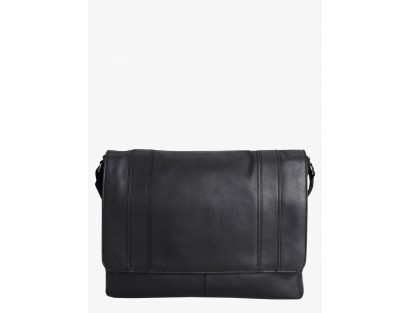 Jade Black Leather Laptop Bag-CHLR