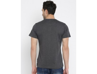 Dark Grey Self Design T-Shirt-CHLR
