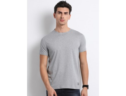Grey Self-Design T-Shirt-CHLR