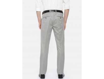 Pearl Grey Solid Trousers-CHLR