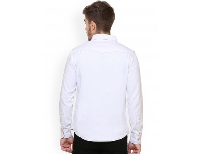 White Contemporary Slim Fit Solid Casual Shirt-CHLR(similar style)