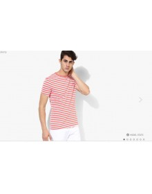 Peach Striped T-Shirt(Similar Style)-CHLR