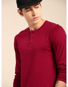 Maroon Solid Henley Neck T-Shirt-CHLR(Similar Style)