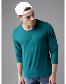 Teal Blue Solid Henley Neck T-Shirt-CHLR(Similar Style)