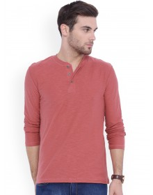 Orange Solid Henley Neck T-Shirt-CHLR(Similar Style)