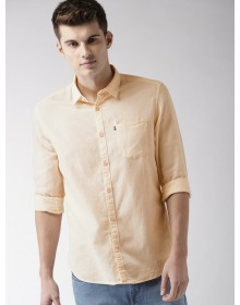 Peach Yellow Solid Casual Shirt-CHLR(Similar Style)