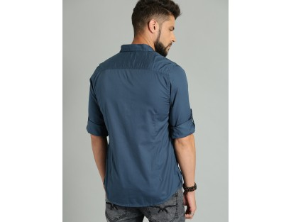 Teal Blue Solid Casual Shirt-CHLR(Similar Style)